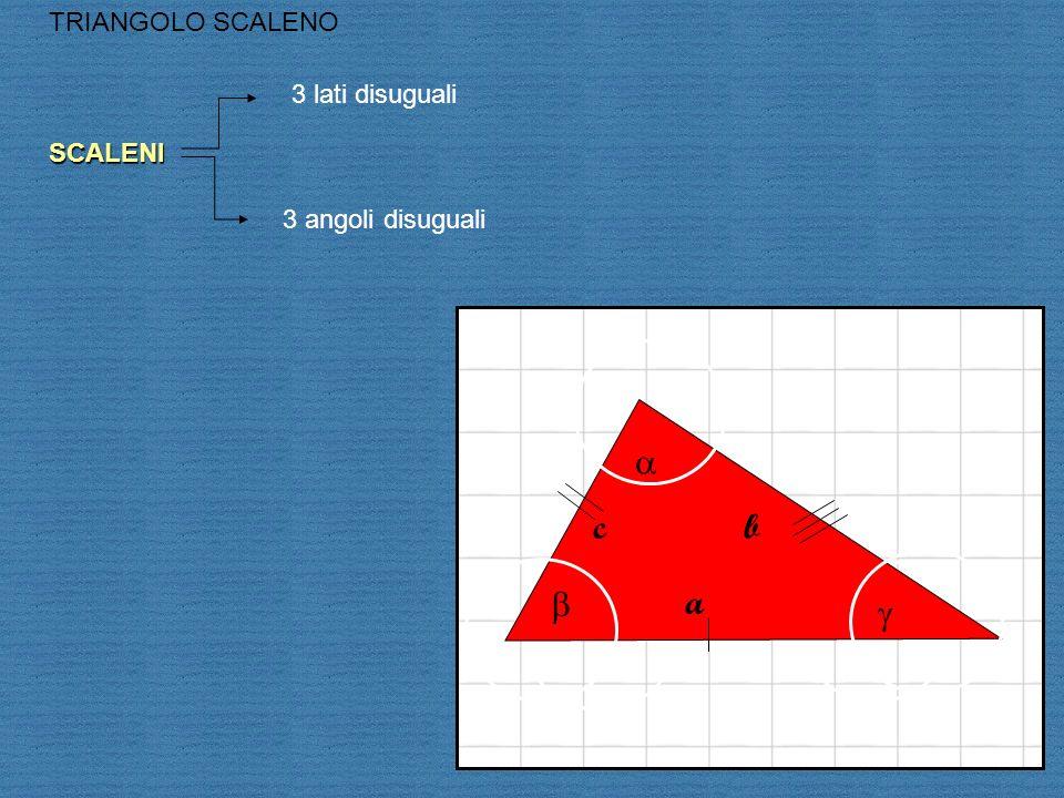 c a b TRIANGOLO SCALENOSCALENI 3 lati disuguali 3 angoli disuguali