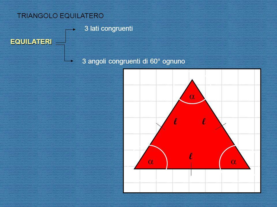 ll l TRIANGOLO EQUILATERO EQUILATERI 3 lati congruenti 3 angoli congruenti di 60° ognuno
