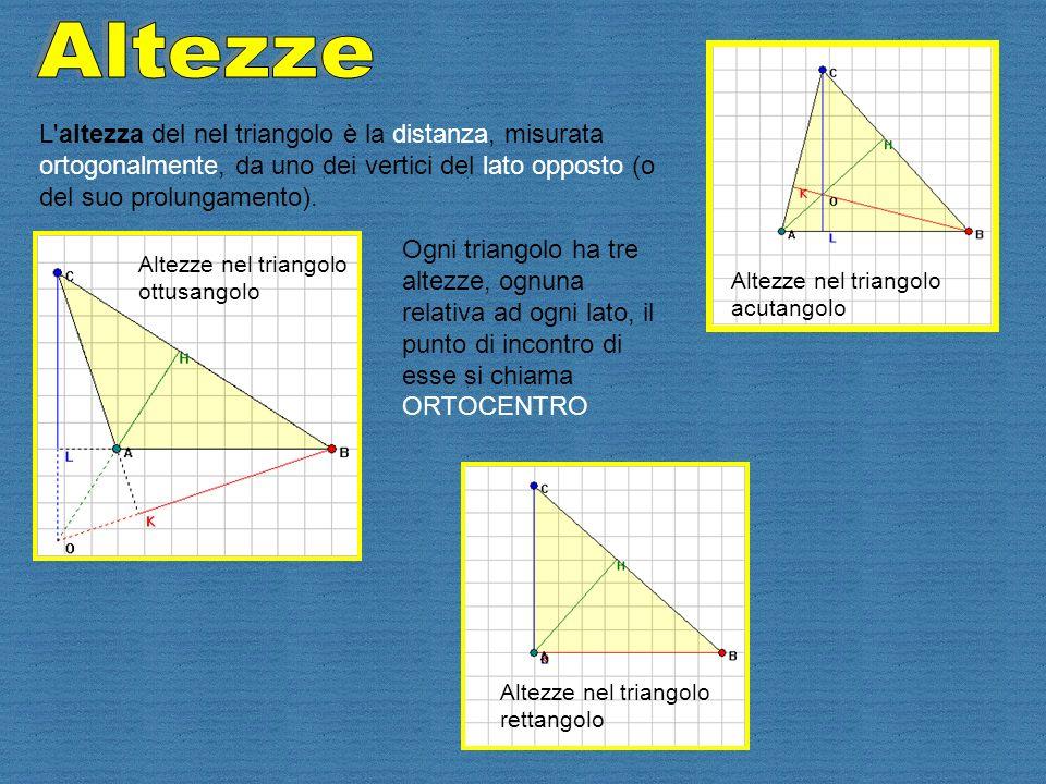 L'altezza del nel triangolo è la distanza, misurata ortogonalmente, da uno dei vertici del lato opposto (o del suo prolungamento). Ogni triangolo ha t