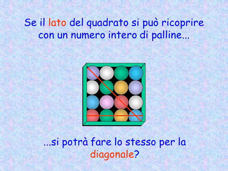 Se il lato del quadrato si può ricoprire con un numero intero di palline......si potrà fare lo stesso per la diagonale?