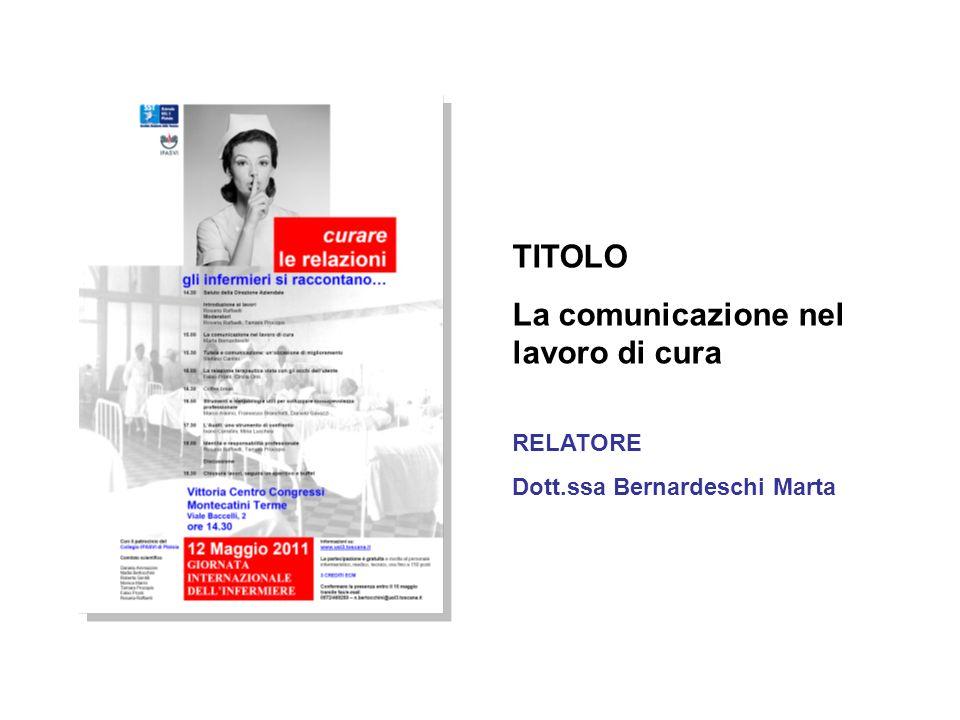 TITOLO La comunicazione nel lavoro di cura RELATORE Dott.ssa Bernardeschi Marta