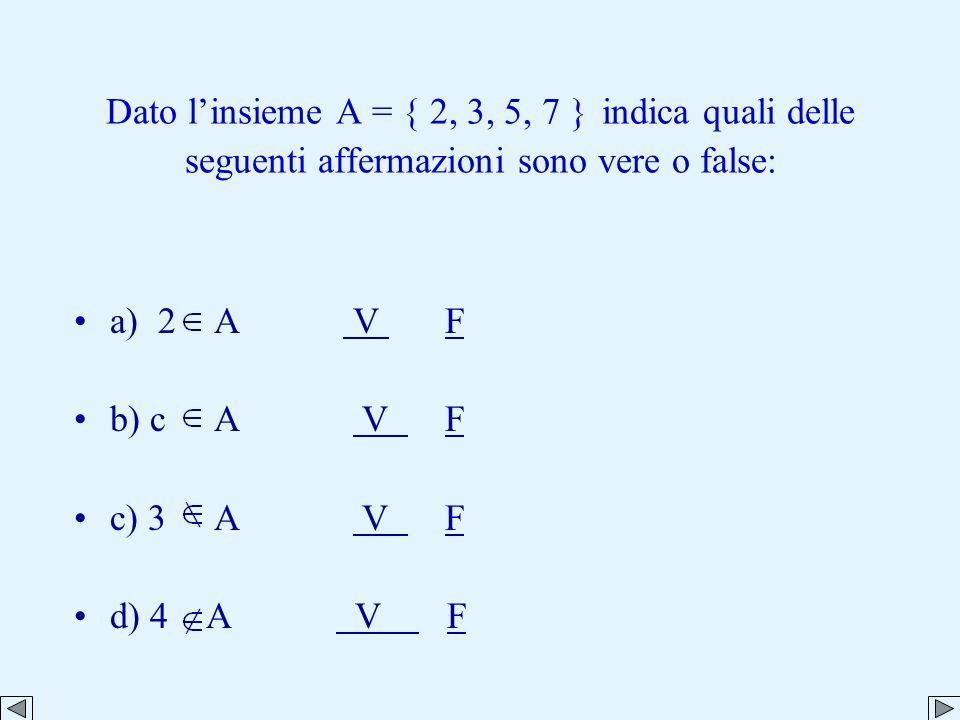 Dato linsieme A = { 2, 3, 5, 7 } indica quali delle seguenti affermazioni sono vere o false: a) 2 A V F V F b) c A V F V F c) 3 A V F V F d) 4 A V F V F