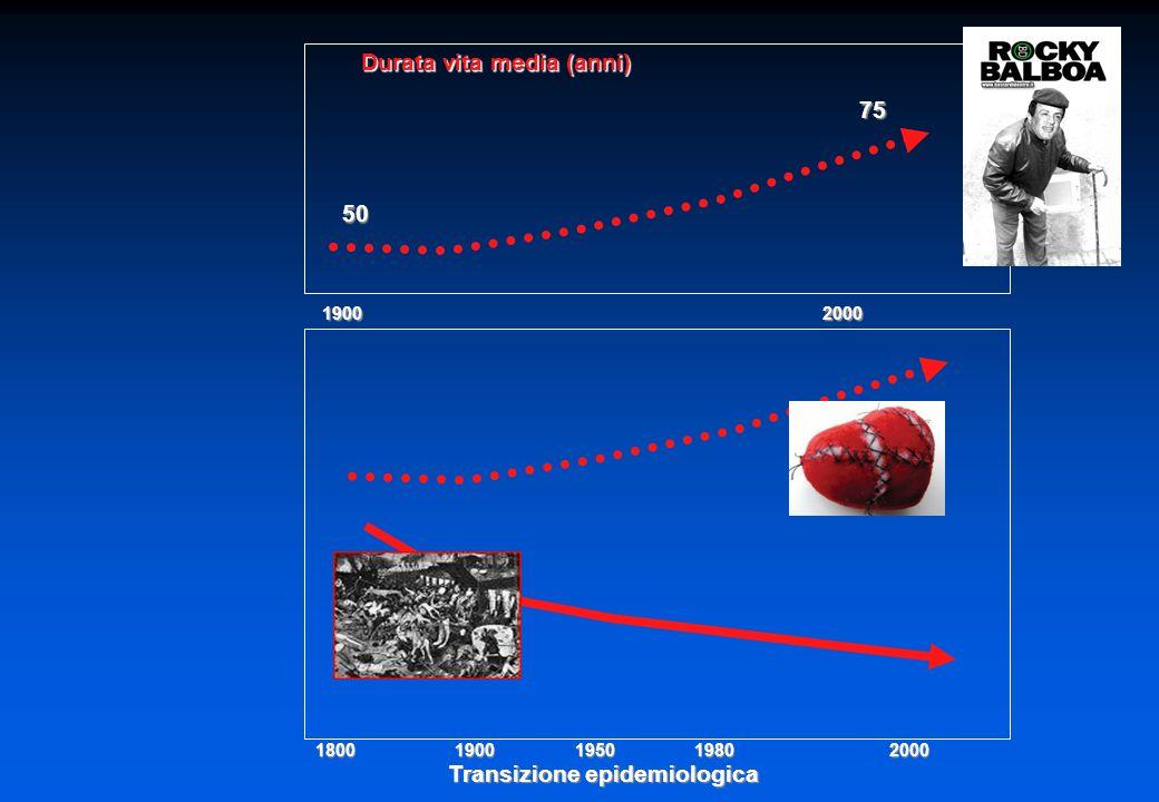 Transizione epidemiologica 1800 1900 1950 1980 2000 50 75 1900 2000 Durata vita media (anni)
