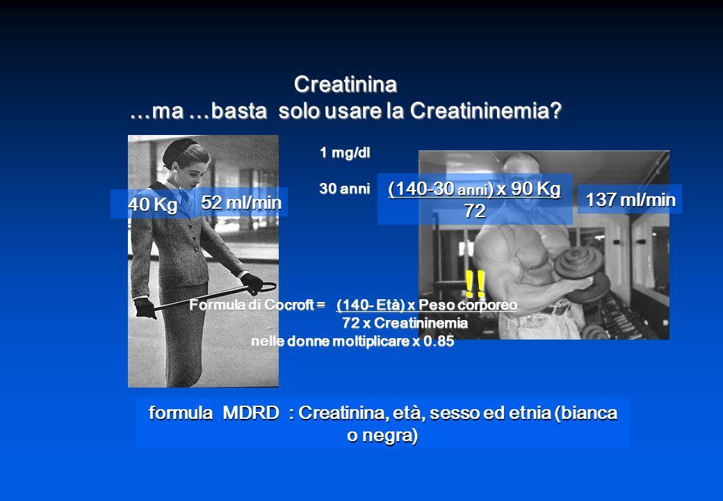 Creatinina …ma …basta solo usare la Creatininemia.
