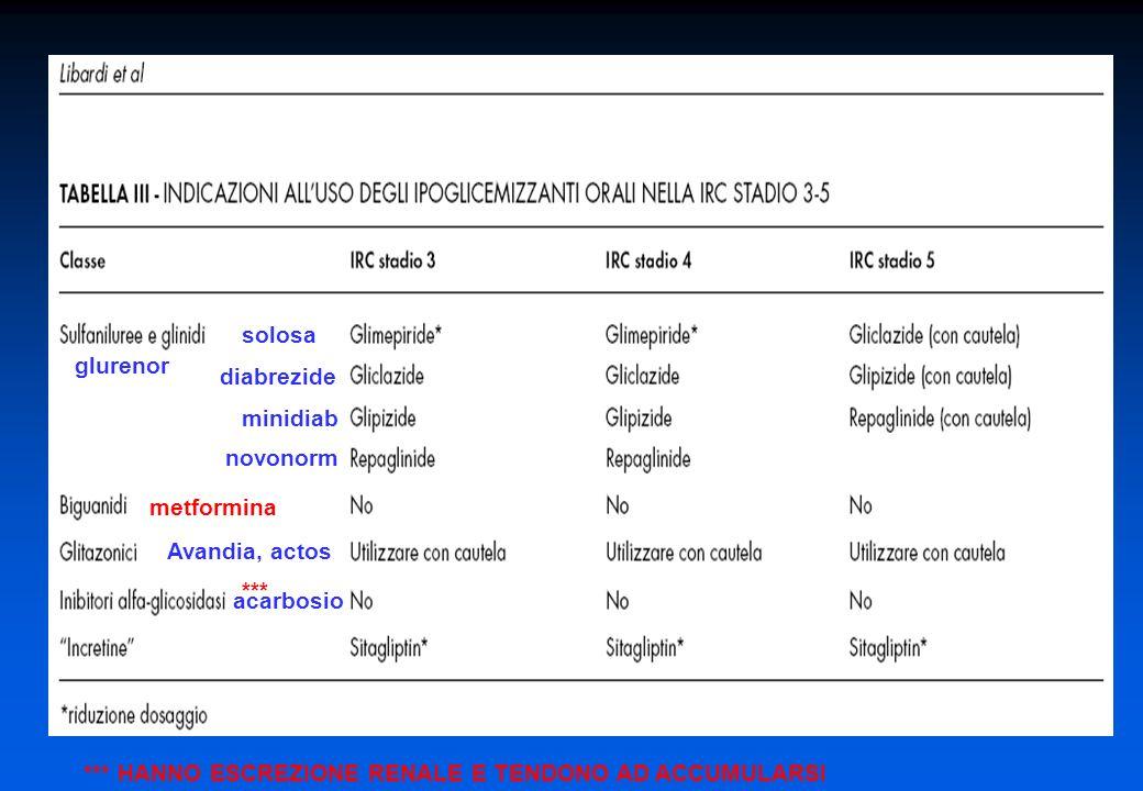metformina acarbosio novonorm minidiab diabrezide solosa Avandia, actos glurenor *** *** HANNO ESCREZIONE RENALE E TENDONO AD ACCUMULARSI