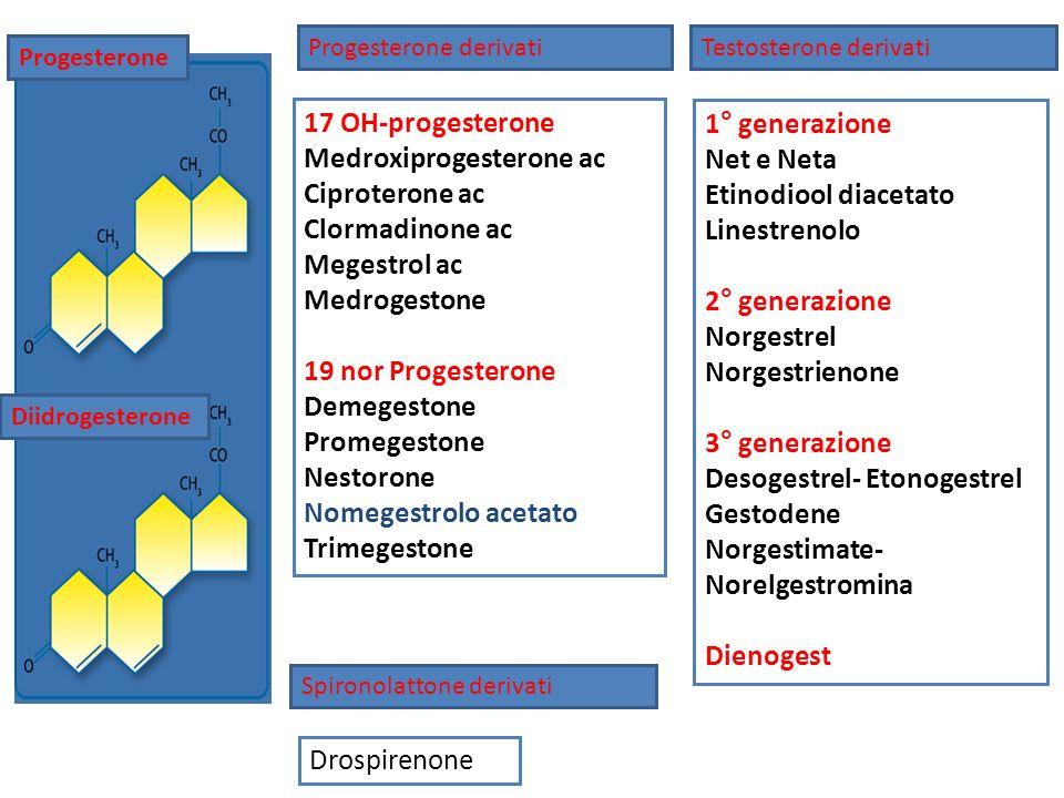 17 OH-progesterone Medroxiprogesterone ac Ciproterone ac Clormadinone ac Megestrol ac Medrogestone 19 nor Progesterone Demegestone Promegestone Nestor