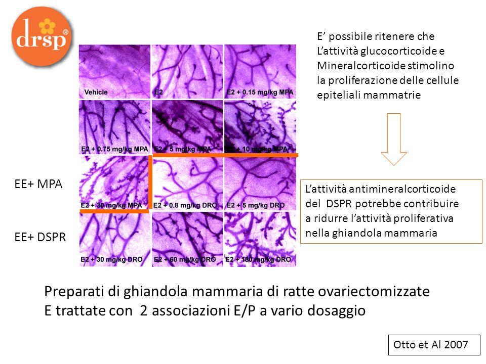 Preparati di ghiandola mammaria di ratte ovariectomizzate E trattate con 2 associazioni E/P a vario dosaggio EE+ MPA EE+ DSPR E possibile ritenere che