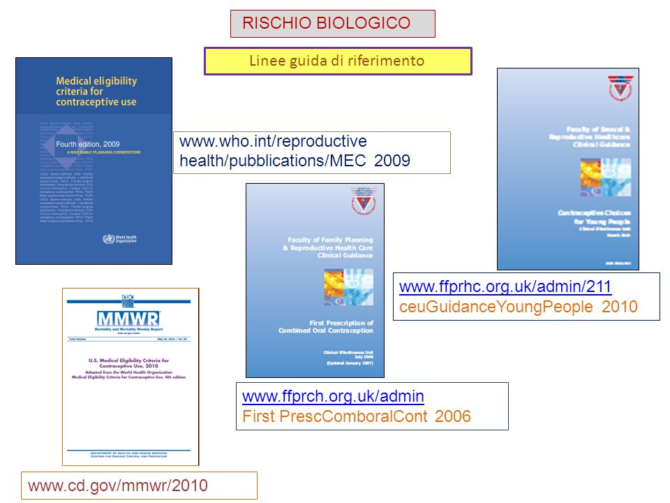 Linee guida di riferimento www.who.int/reproductive health/pubblications/MEC 2009 www.ffprhc.org.uk/admin/211 ceuGuidanceYoungPeople 2010 www.cd.gov/m