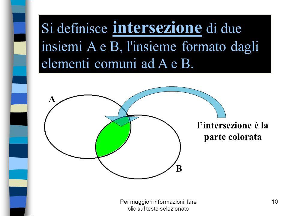 Per maggiori informazioni, fare clic sul testo selezionato 10 A B Si definisce intersezione di due insiemi A e B, l'insieme formato dagli elementi com