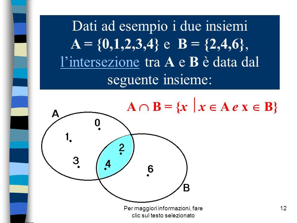 Per maggiori informazioni, fare clic sul testo selezionato 12 Dati ad esempio i due insiemi A = {0,1,2,3,4} e B = {2,4,6}, lintersezione tra A e B è d