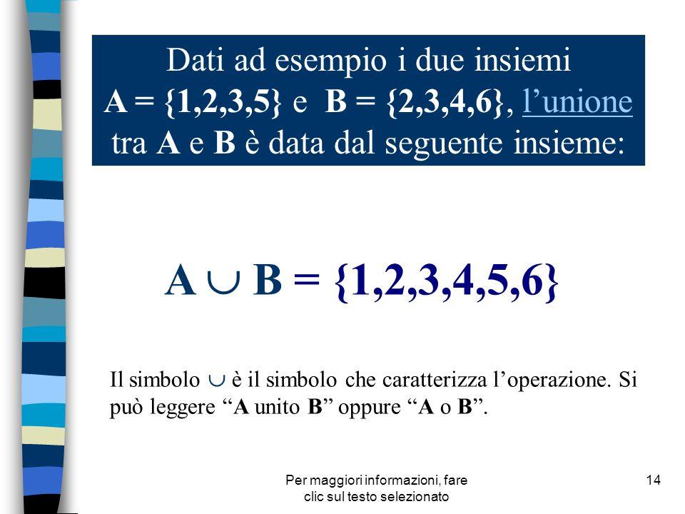 Per maggiori informazioni, fare clic sul testo selezionato 14 Dati ad esempio i due insiemi A = {1,2,3,5} e B = {2,3,4,6}, lunione tra A e B è data da
