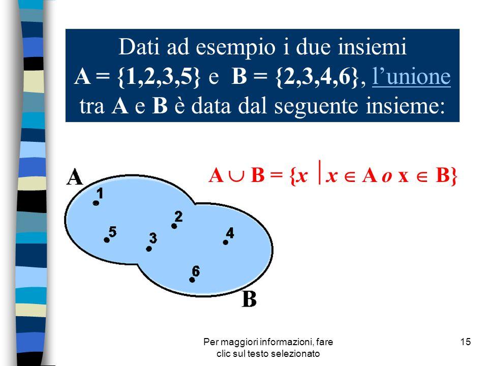 Per maggiori informazioni, fare clic sul testo selezionato 15 Dati ad esempio i due insiemi A = {1,2,3,5} e B = {2,3,4,6}, lunione tra A e B è data da