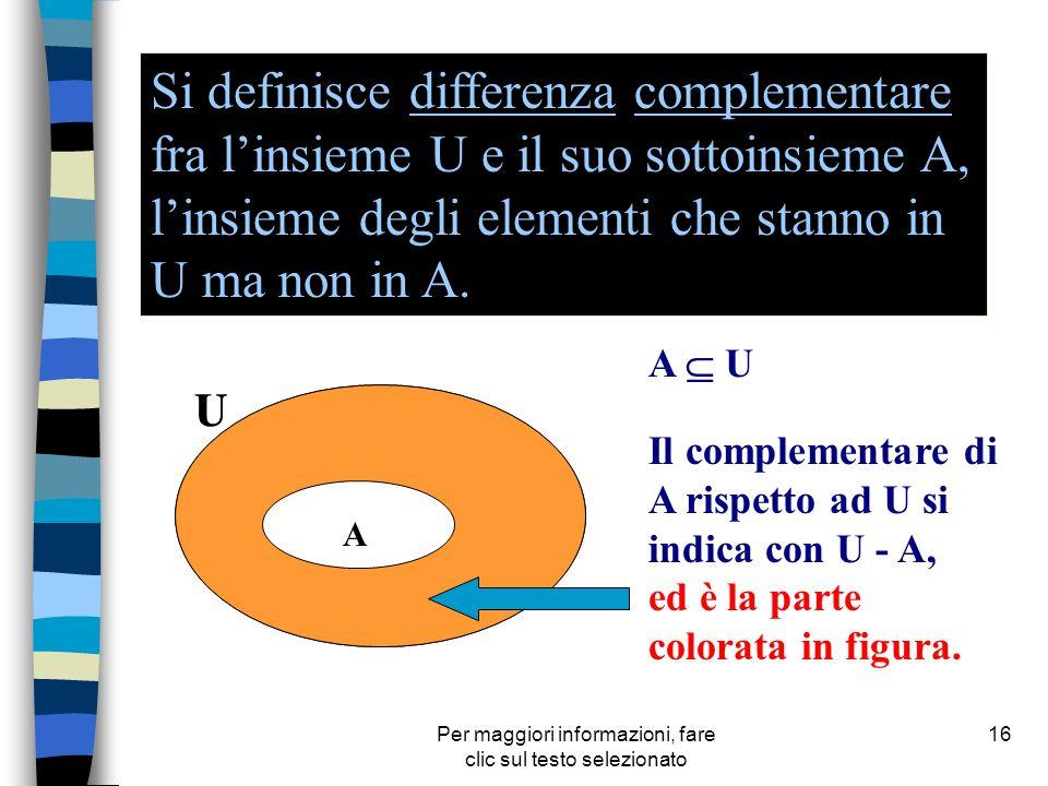 Per maggiori informazioni, fare clic sul testo selezionato 16 Si definisce differenza complementare fra linsieme U e il suo sottoinsieme A, linsieme d