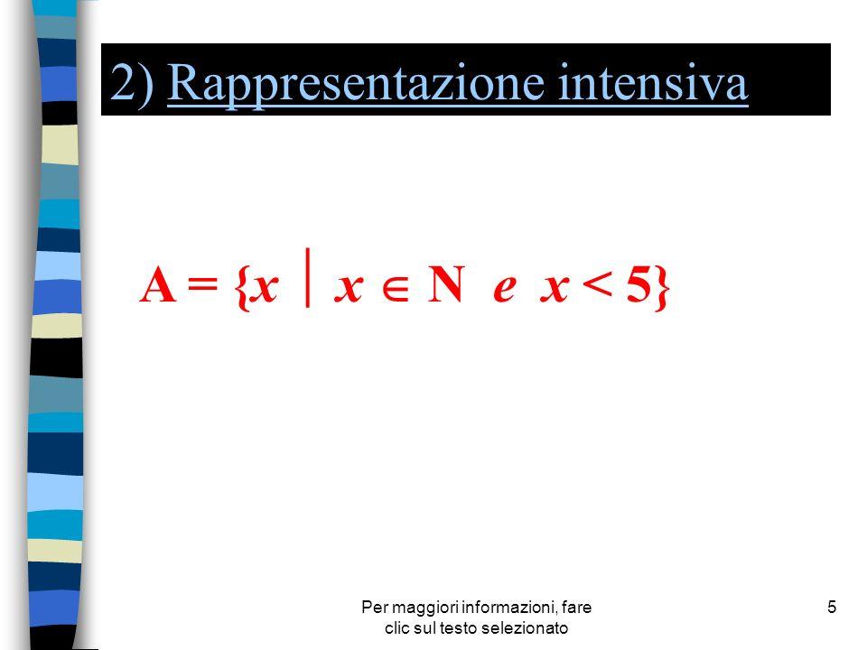 Per maggiori informazioni, fare clic sul testo selezionato 5 2) Rappresentazione intensivaRappresentazione intensiva A = {x x N e x < 5}