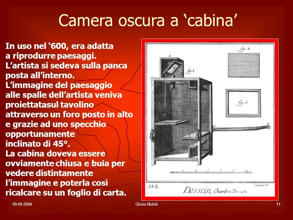 09-09-2004Gloria Nobili11 Camera oscura a cabina In uso nel 600, era adatta a riprodurre paesaggi. Lartista si sedeva sulla panca posta allinterno. Li
