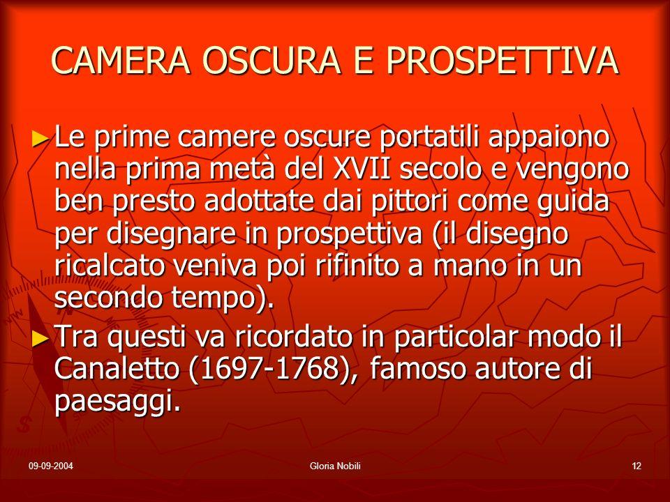 09-09-2004Gloria Nobili12 CAMERA OSCURA E PROSPETTIVA Le prime camere oscure portatili appaiono nella prima metà del XVII secolo e vengono ben presto