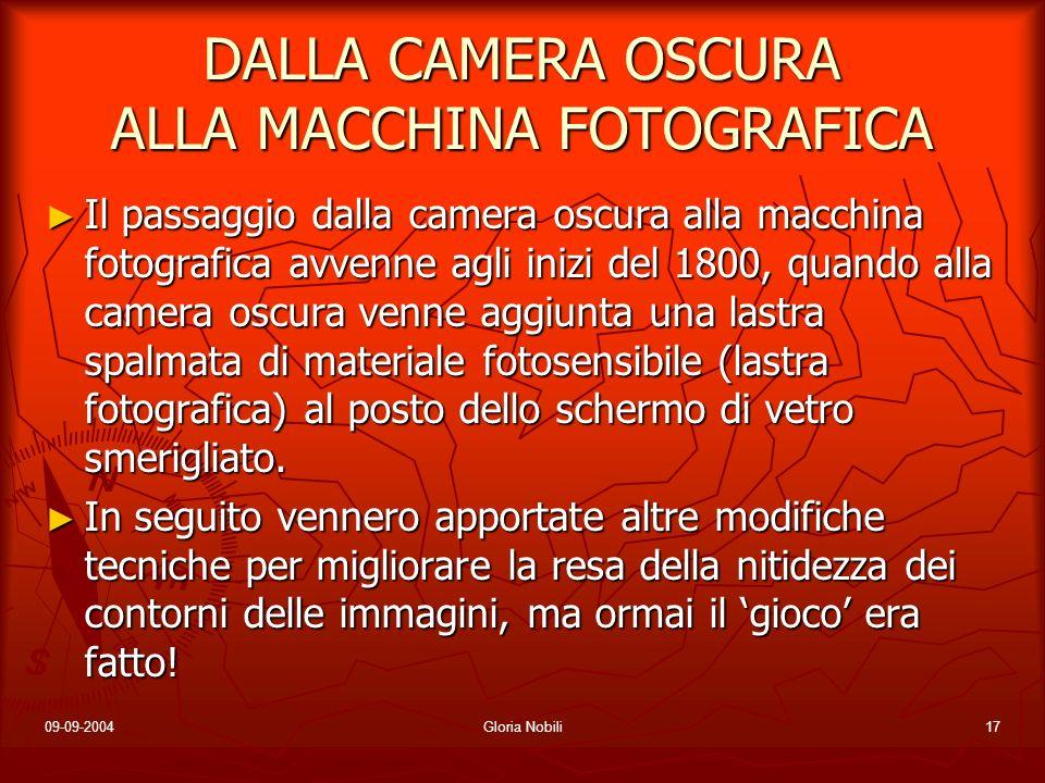 09-09-2004Gloria Nobili17 DALLA CAMERA OSCURA ALLA MACCHINA FOTOGRAFICA Il passaggio dalla camera oscura alla macchina fotografica avvenne agli inizi