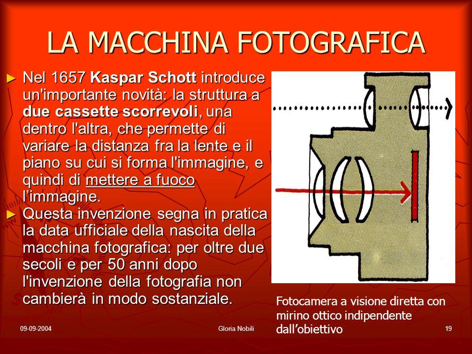 09-09-2004Gloria Nobili19 LA MACCHINA FOTOGRAFICA Nel 1657 Kaspar Schott introduce un'importante novità: la struttura a due cassette scorrevoli, una d
