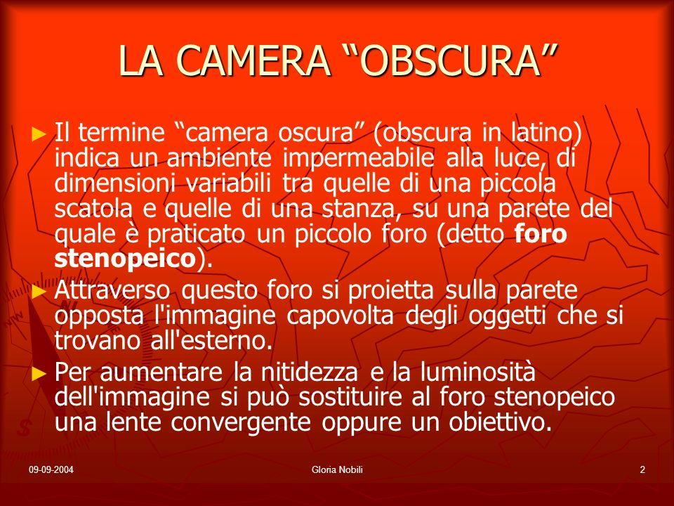 09-09-2004Gloria Nobili2 LA CAMERA OBSCURA Il termine camera oscura (obscura in latino) indica un ambiente impermeabile alla luce, di dimensioni varia