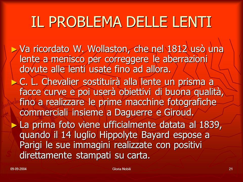 09-09-2004Gloria Nobili21 IL PROBLEMA DELLE LENTI Va ricordato W. Wollaston, che nel 1812 usò una lente a menisco per correggere le aberrazioni dovute