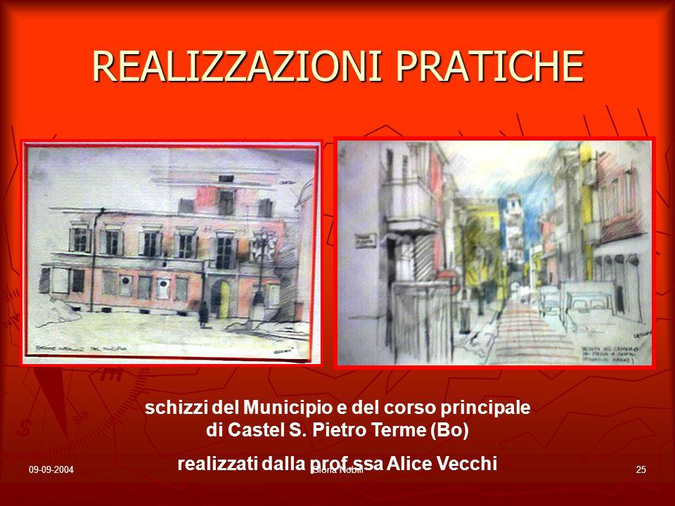 09-09-2004Gloria Nobili25 REALIZZAZIONI PRATICHE schizzi del Municipio e del corso principale di Castel S. Pietro Terme (Bo) realizzati dalla prof.ssa
