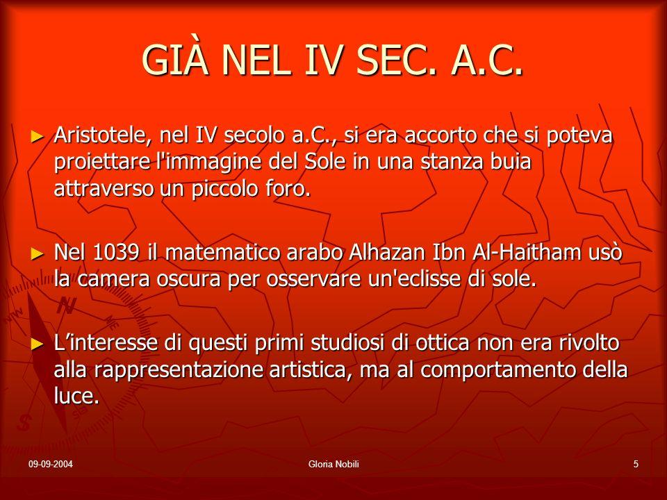 09-09-2004Gloria Nobili5 GIÀ NEL IV SEC. A.C. Aristotele, nel IV secolo a.C., si era accorto che si poteva proiettare l'immagine del Sole in una stanz