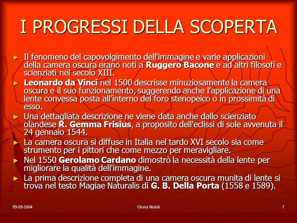 09-09-2004Gloria Nobili7 I PROGRESSI DELLA SCOPERTA Il fenomeno del capovolgimento dell'immagine e varie applicazioni della camera oscura erano noti a