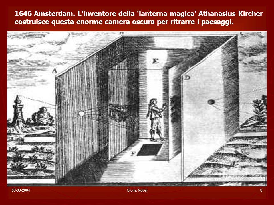 09-09-2004Gloria Nobili19 LA MACCHINA FOTOGRAFICA Nel 1657 Kaspar Schott introduce un importante novità: la struttura a due cassette scorrevoli, una dentro l altra, che permette di variare la distanza fra la lente e il piano su cui si forma l immagine, e quindi di mettere a fuoco limmagine.