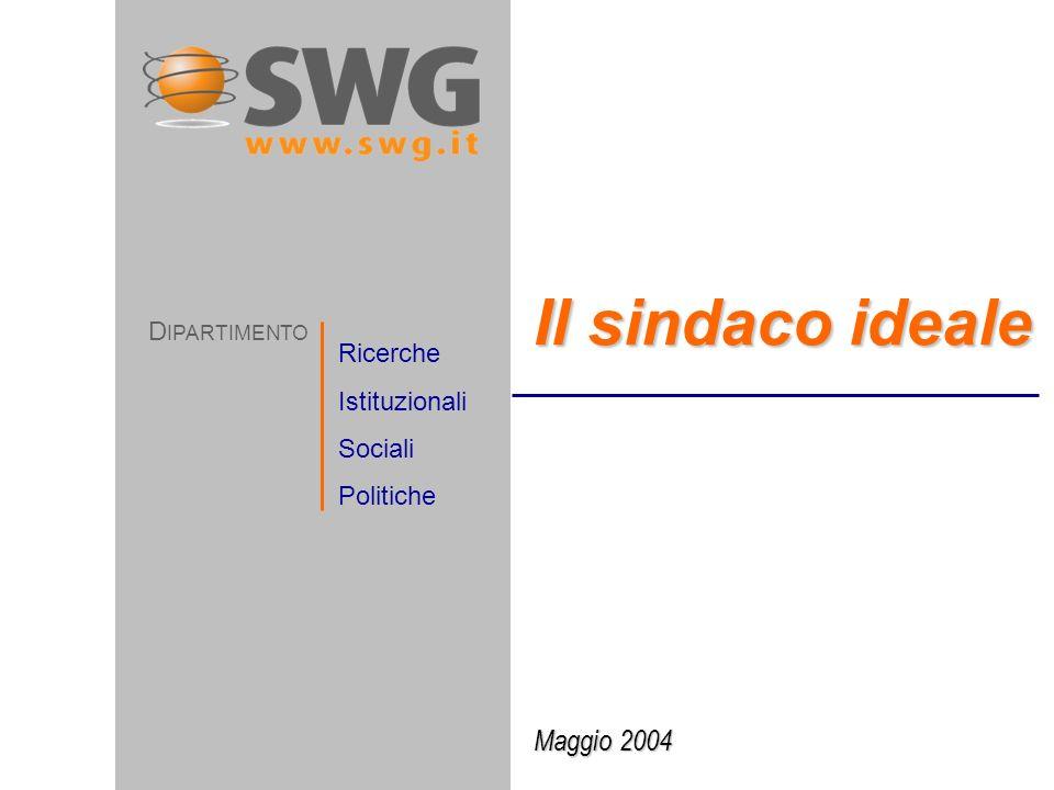 Maggio 2004 Il sindaco ideale D IPARTIMENTO Ricerche Istituzionali Sociali Politiche