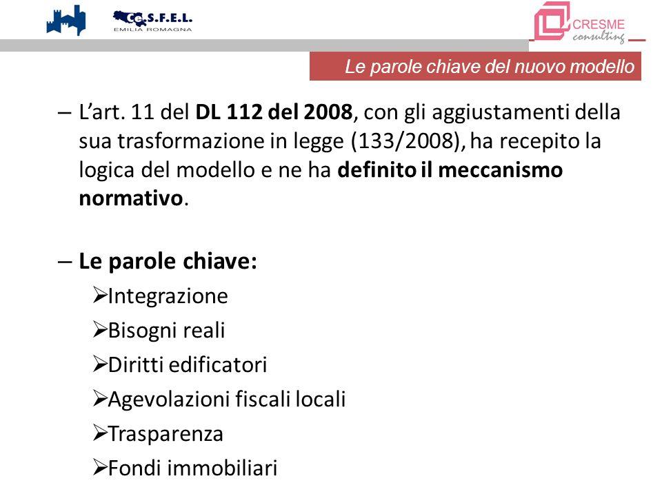 – Lart. 11 del DL 112 del 2008, con gli aggiustamenti della sua trasformazione in legge (133/2008), ha recepito la logica del modello e ne ha definito