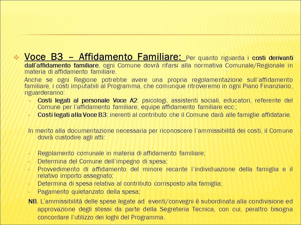 Voce B3 – Affidamento Familiare: Per quanto riguarda i costi derivanti dallaffidamento familiare, ogni Comune dovrà rifarsi alla normativa Comunale/Regionale in materia di affidamento familiare.