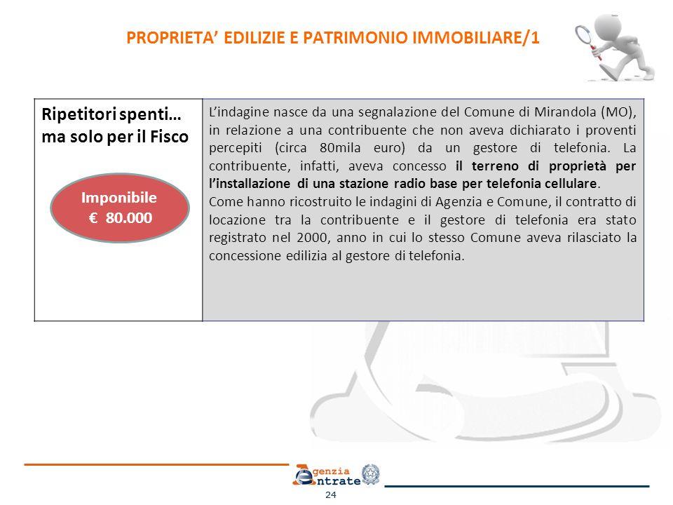 24 Ripetitori spenti… ma solo per il Fisco Lindagine nasce da una segnalazione del Comune di Mirandola (MO), in relazione a una contribuente che non aveva dichiarato i proventi percepiti (circa 80mila euro) da un gestore di telefonia.