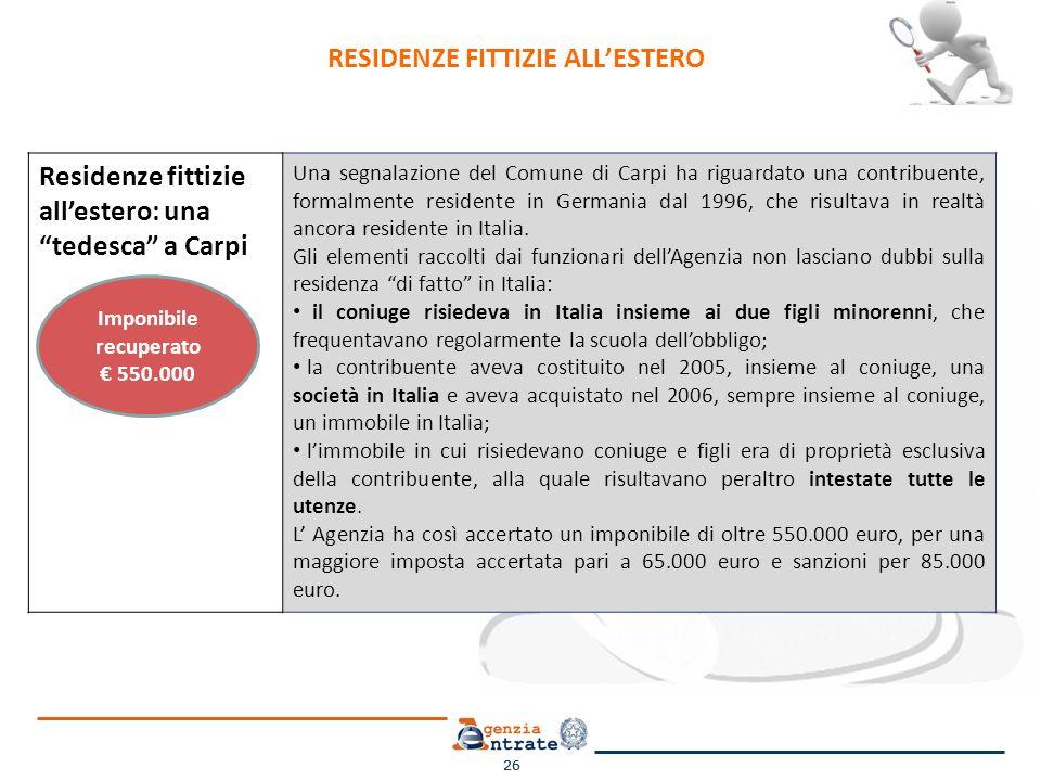 26 Residenze fittizie allestero: una tedesca a Carpi Una segnalazione del Comune di Carpi ha riguardato una contribuente, formalmente residente in Germania dal 1996, che risultava in realtà ancora residente in Italia.