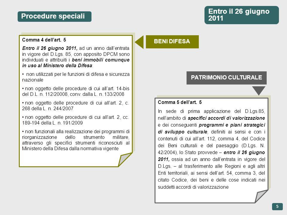 Procedure speciali Comma 4 dellart. 5 Entro il 26 giugno 2011, ad un anno dallentrata in vigore del D.Lgs. 85, con apposito DPCM sono individuati e at