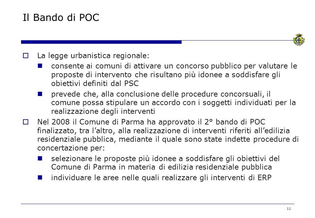 11 Il Bando di POC La legge urbanistica regionale: consente ai comuni di attivare un concorso pubblico per valutare le proposte di intervento che risultano più idonee a soddisfare gli obiettivi definiti dal PSC prevede che, alla conclusione delle procedure concorsuali, il comune possa stipulare un accordo con i soggetti individuati per la realizzazione degli interventi Nel 2008 il Comune di Parma ha approvato il 2° bando di POC finalizzato, tra laltro, alla realizzazione di interventi riferiti alledilizia residenziale pubblica, mediante il quale sono state indette procedure di concertazione per: selezionare le proposte più idonee a soddisfare gli obiettivi del Comune di Parma in materia di edilizia residenziale pubblica individuare le aree nelle quali realizzare gli interventi di ERP