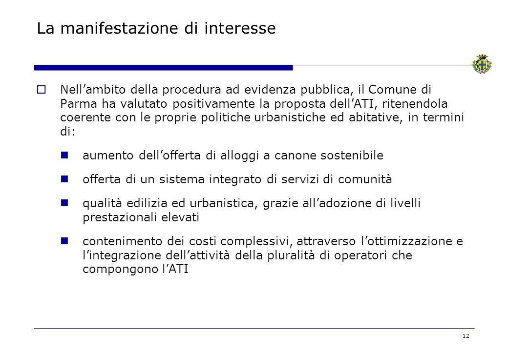 12 La manifestazione di interesse Nellambito della procedura ad evidenza pubblica, il Comune di Parma ha valutato positivamente la proposta dellATI, r