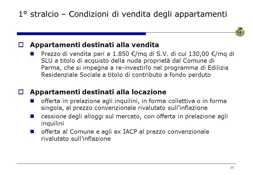 20 1° stralcio – Condizioni di vendita degli appartamenti Appartamenti destinati alla vendita Prezzo di vendita pari a 1.850 /mq di S.V. di cui 130,00