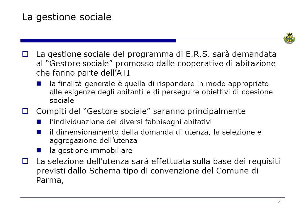 21 La gestione sociale La gestione sociale del programma di E.R.S. sarà demandata al Gestore sociale promosso dalle cooperative di abitazione che fann