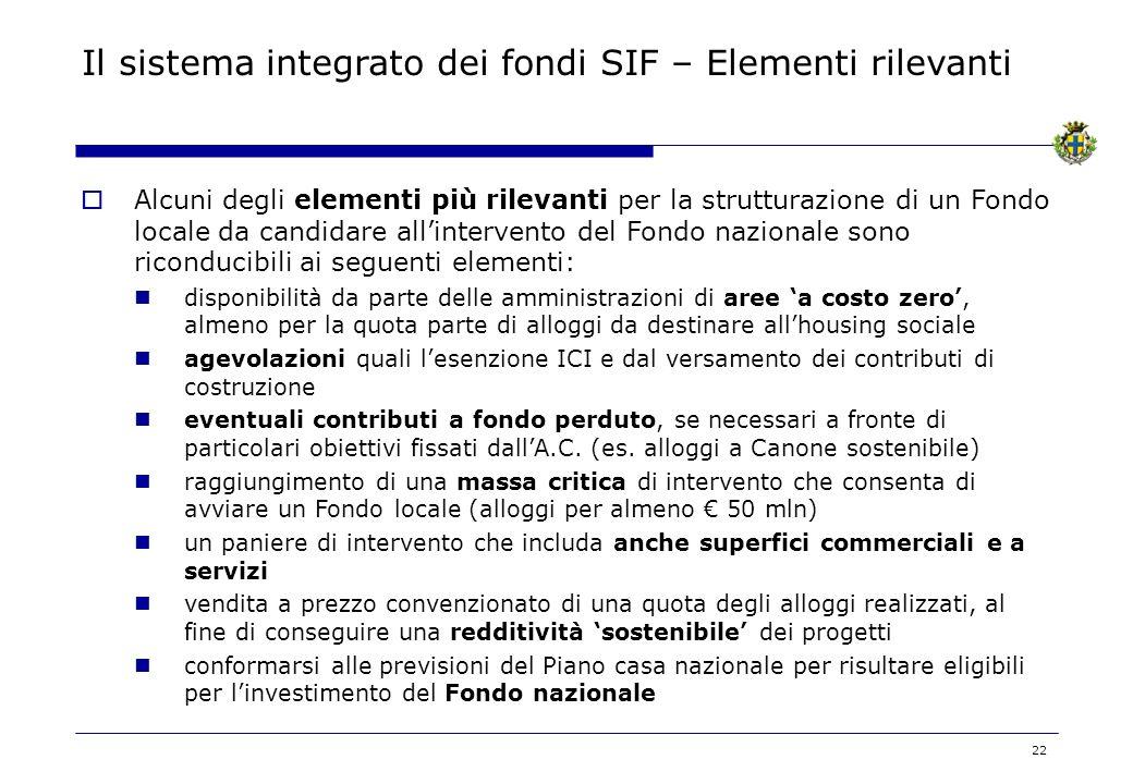 22 Il sistema integrato dei fondi SIF – Elementi rilevanti Alcuni degli elementi più rilevanti per la strutturazione di un Fondo locale da candidare a