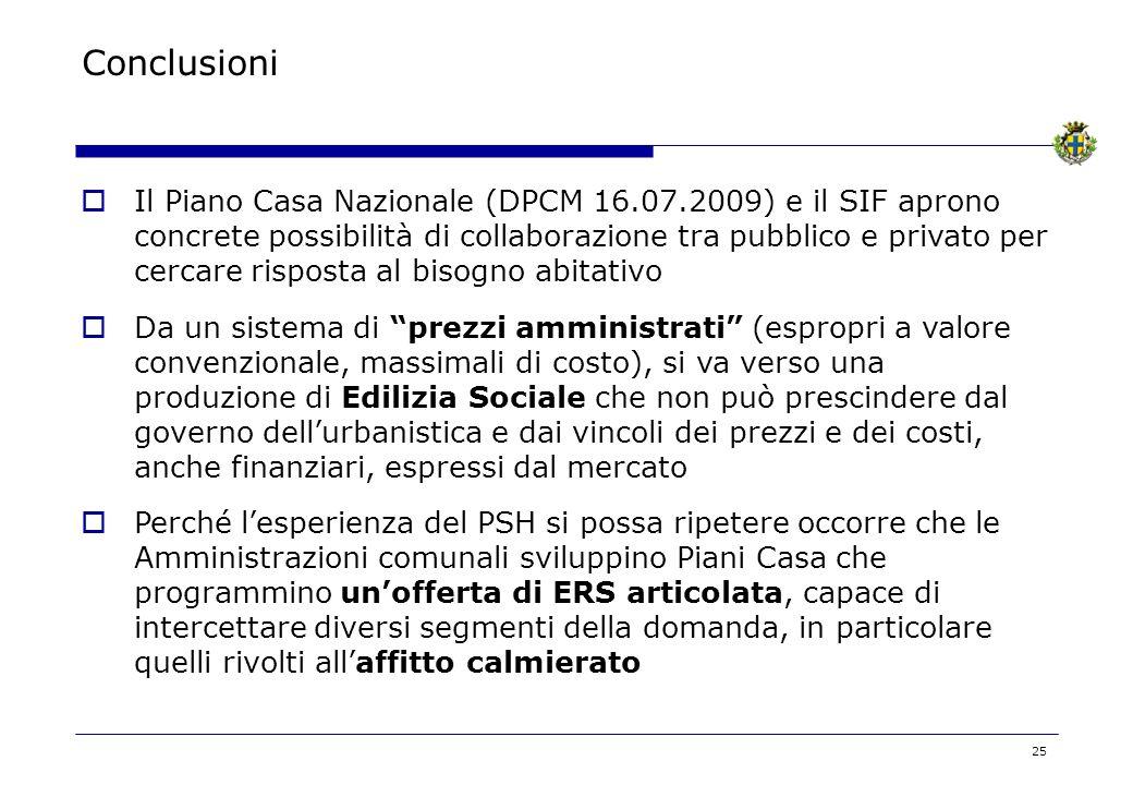 25 Conclusioni Il Piano Casa Nazionale (DPCM 16.07.2009) e il SIF aprono concrete possibilità di collaborazione tra pubblico e privato per cercare ris