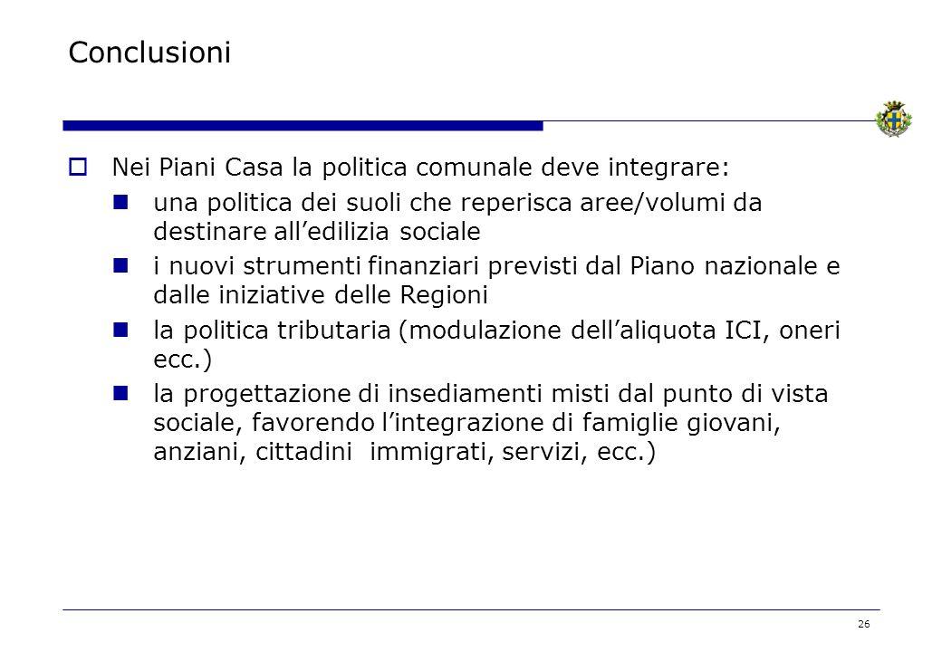 26 Conclusioni Nei Piani Casa la politica comunale deve integrare: una politica dei suoli che reperisca aree/volumi da destinare alledilizia sociale i