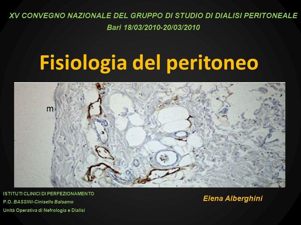 La cavità peritoneale Caratteristiche Ampia superficie Ampio flusso ematico totale splancnico Trasporto di acqua + molecole tra sangue e cavità Utilizzo parafisiologico a scopo clinico.