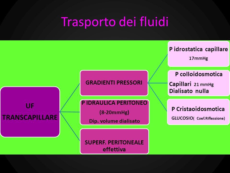 Trasporto dei fluidi UF TRANSCAPILLARE GRADIENTI PRESSORI P idrostatica capillare 17mmHg P colloidosmotica Capillari 21 mmHg Dialisato nulla P Cristao