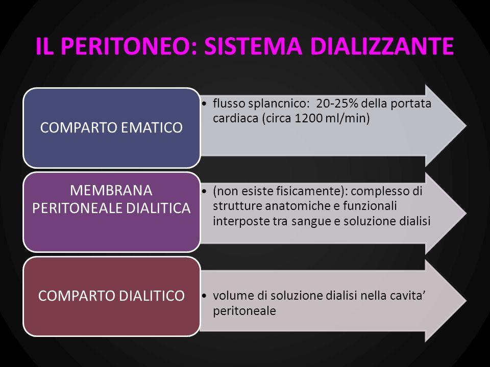 Il trasporto dei soluti avviene attraverso la rete di capillari peritoneali post-arteriolari disposti in serie: normalmente è perfuso solo il 20%; il N° dei capillari perfusi, la superficie endoteliale e la permeabilità possono variare a seconda dei casi (es.