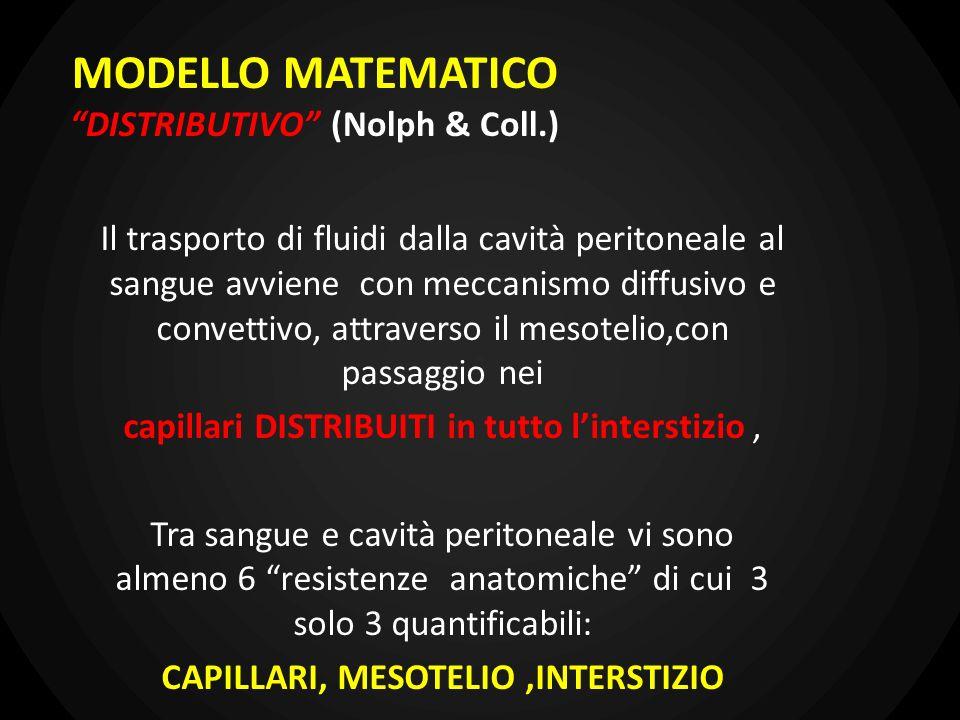 MODELLO MATEMATICO DISTRIBUTIVO (Nolph & Coll.) Il trasporto di fluidi dalla cavità peritoneale al sangue avviene con meccanismo diffusivo e convettiv