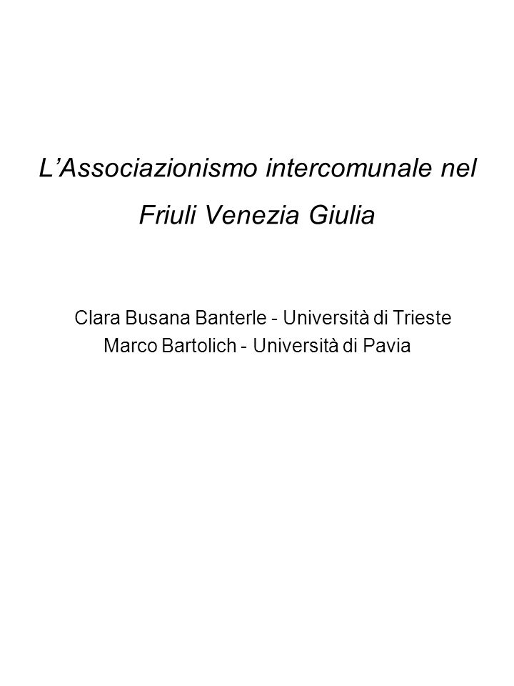 La realtà dei Comuni nel Friuli Venezia Giulia