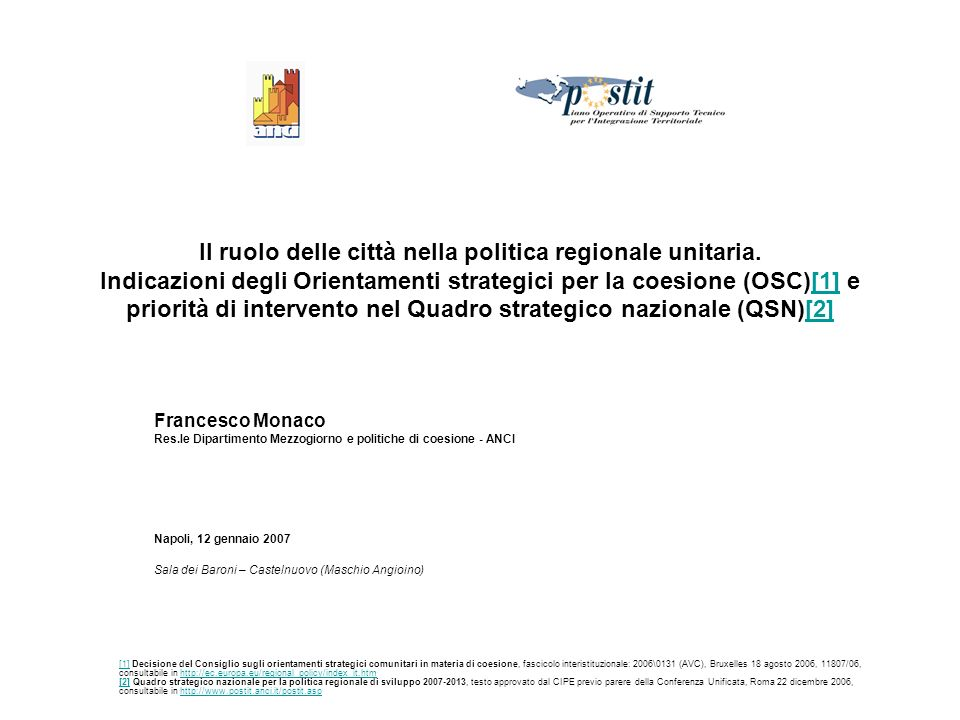 Il ruolo delle città nella politica regionale unitaria.