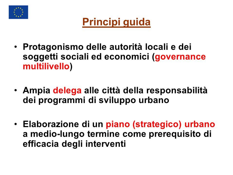 Principi guida Protagonismo delle autorità locali e dei soggetti sociali ed economici (governance multilivello) Ampia delega alle città della responsabilità dei programmi di sviluppo urbano Elaborazione di un piano (strategico) urbano a medio-lungo termine come prerequisito di efficacia degli interventi