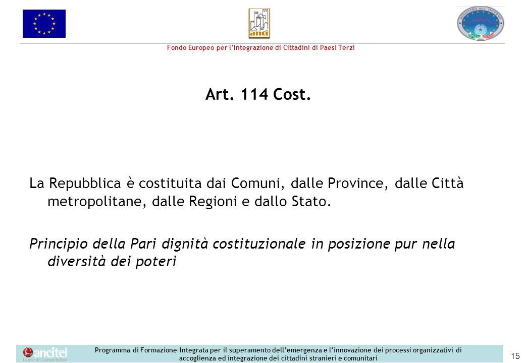 Fondo Europeo per lIntegrazione di Cittadini di Paesi Terzi Programma di Formazione Integrata per il superamento dellemergenza e linnovazione dei processi organizzativi di accoglienza ed integrazione dei cittadini stranieri e comunitari 15 Art.