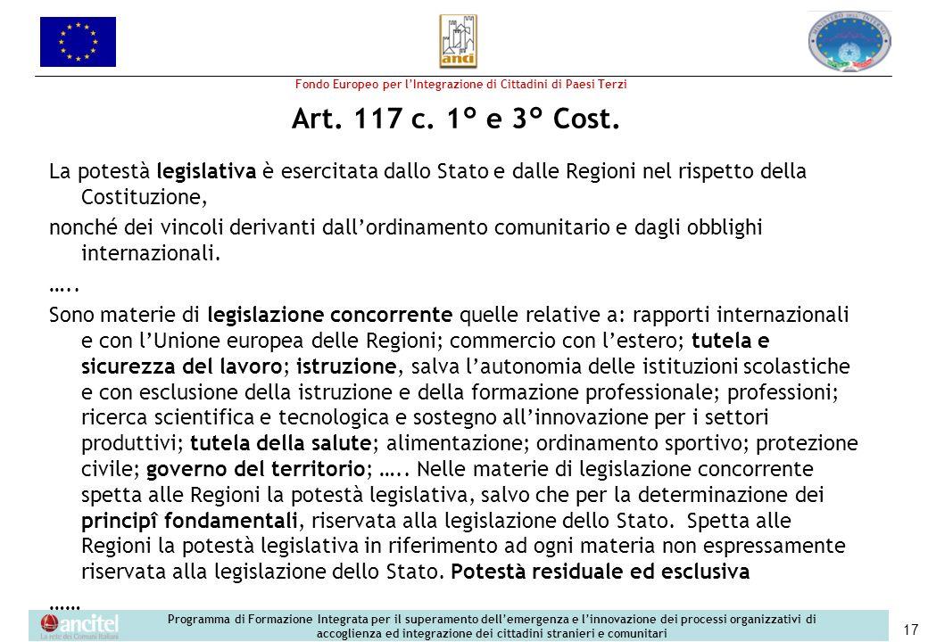 Fondo Europeo per lIntegrazione di Cittadini di Paesi Terzi Programma di Formazione Integrata per il superamento dellemergenza e linnovazione dei processi organizzativi di accoglienza ed integrazione dei cittadini stranieri e comunitari 17 Art.